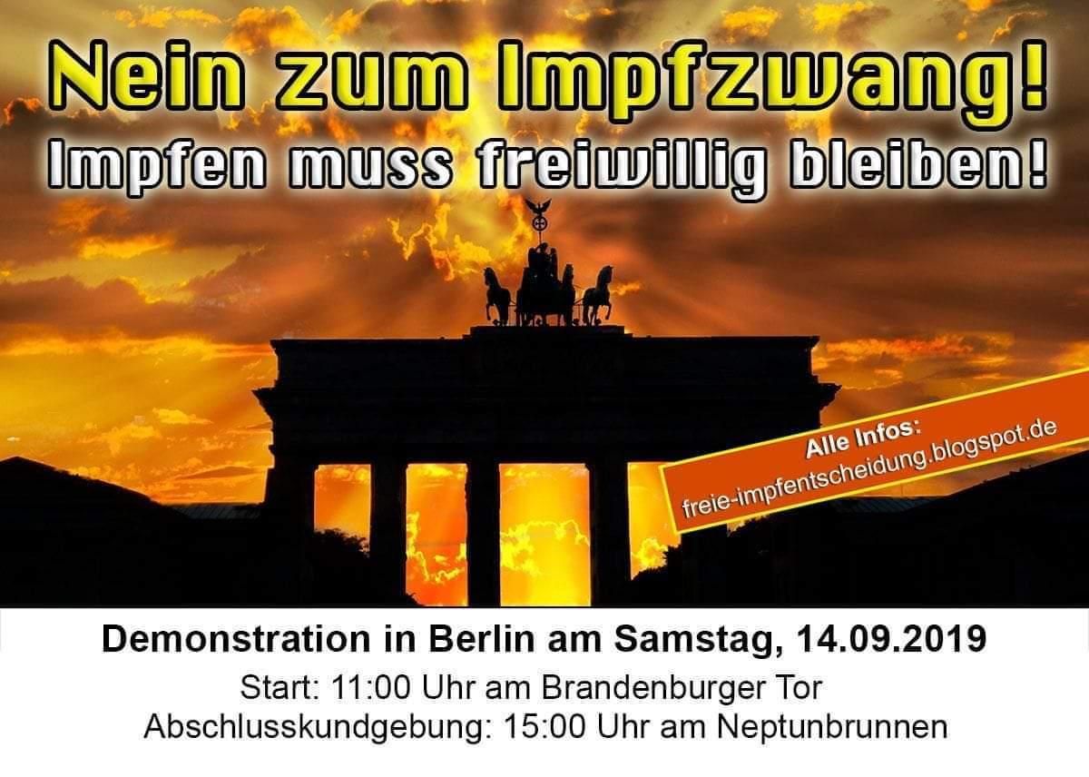 Nein zum Impfzwang, Demo in Berlin, Samstag, 14.09.2019